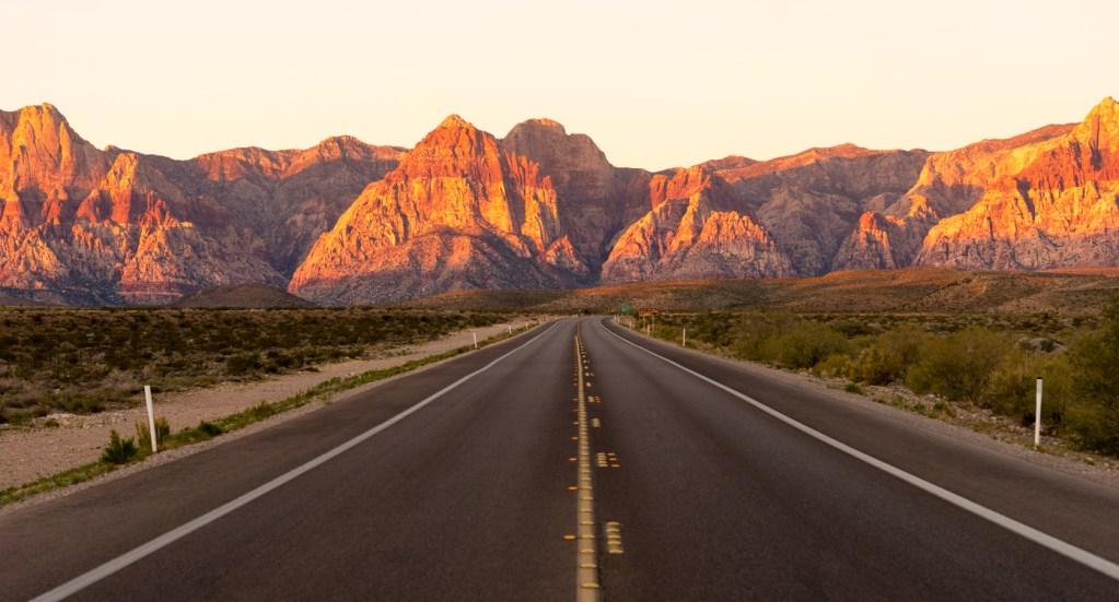 Two Lane Highway Red Rock Canyon Las Vegas