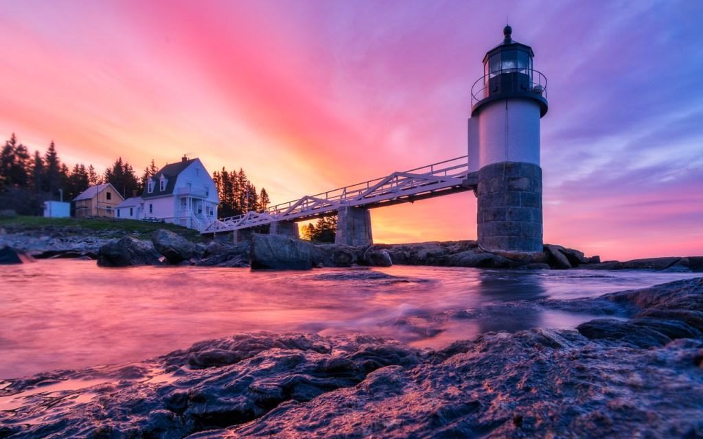 Marshall lighthouse during sunrise