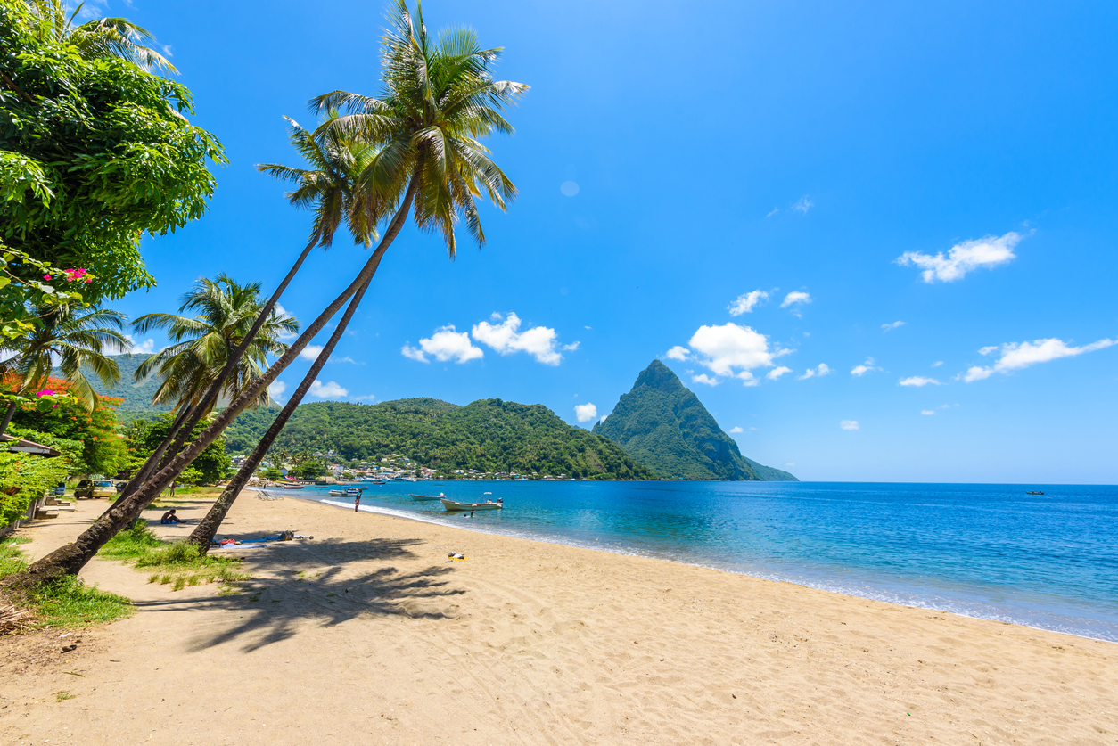 Paradise beach at Soufriere Bay with view to Piton at small town Soufriere in Saint Lucia