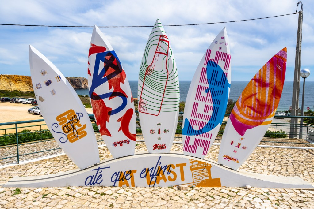 Surfboard monument in Sagres
