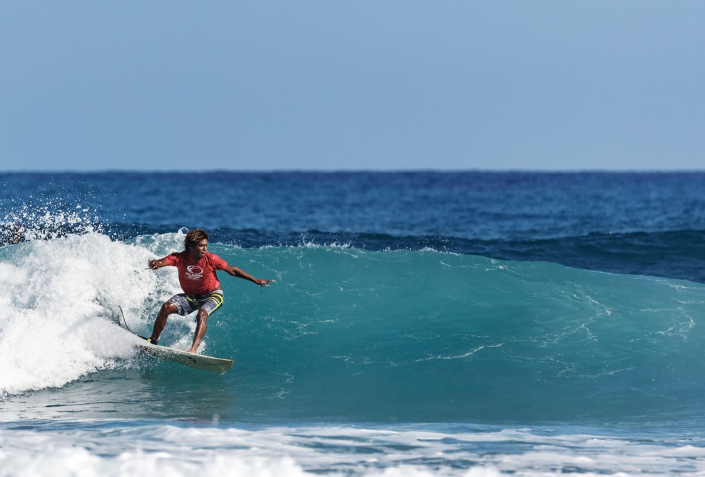 Surfing a nice wave in the Dominican Republic