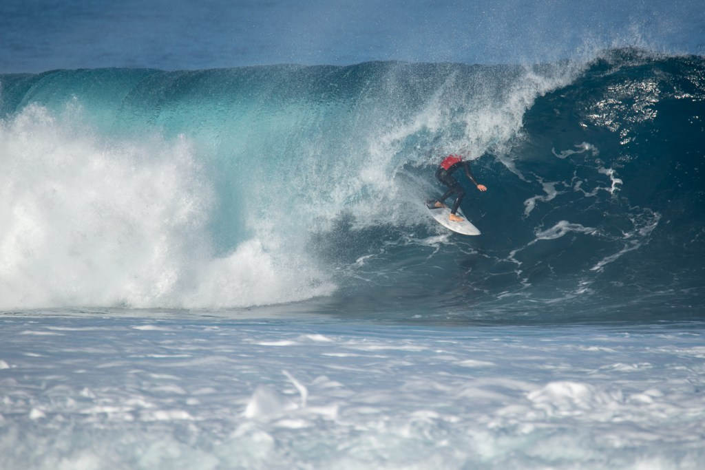 surfer in action on a big wave