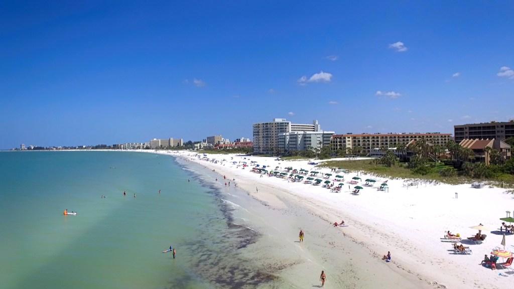 Aerial view of people on Siesta Key beach, Sarasota