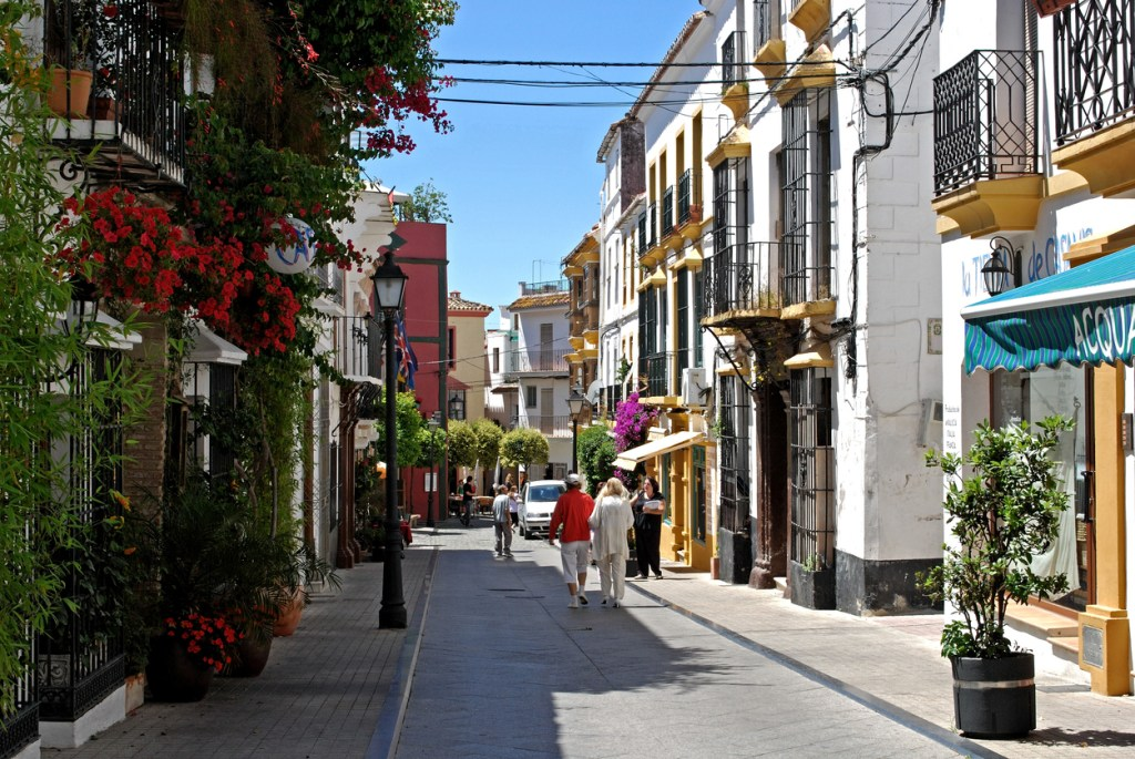 Old town shopping street, Marbella, Spain.