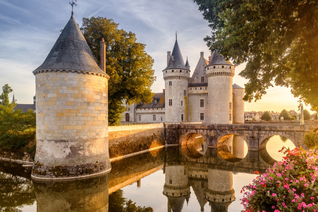 Chateau of Sully-sur-Loire at sunset, France
