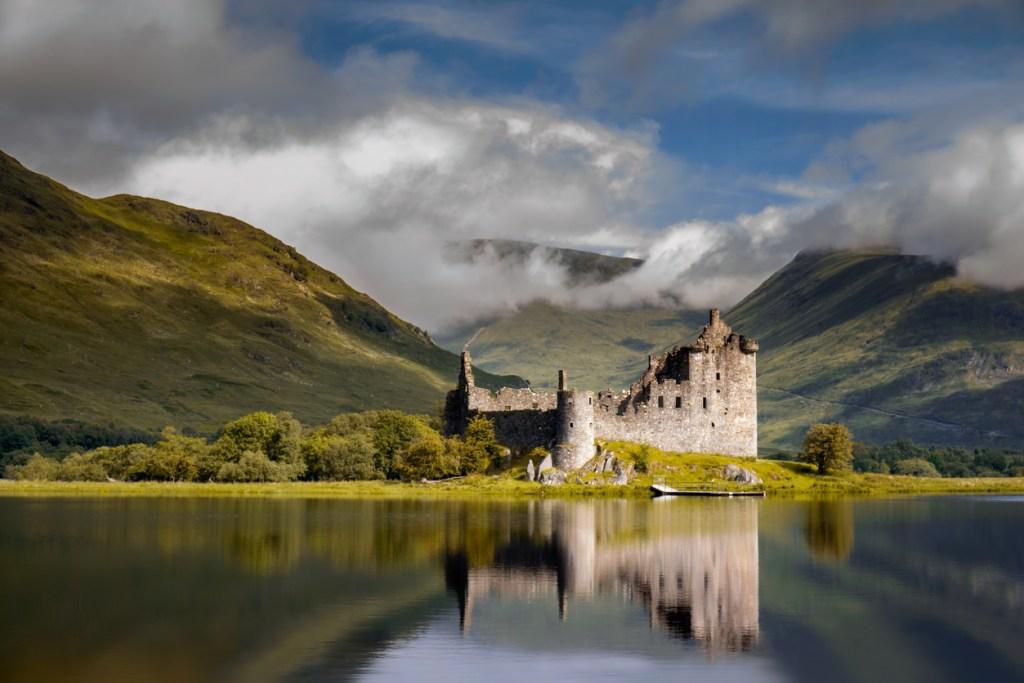 Reflection of Kilchurn Castle in Loch Awe, Highlands, Scotland