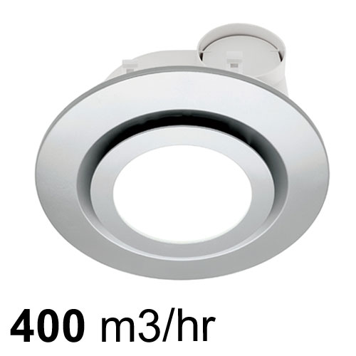 starline round exhaust fan with led light silver by mercator