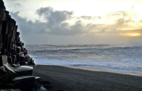 black sand beach and basalts in vik iceland