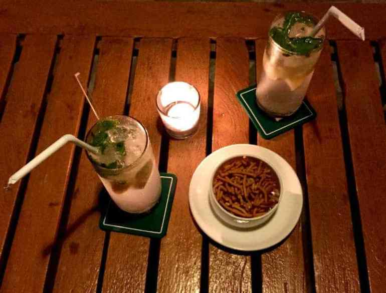 Gin fizz drinks and indian snacks at 360 restaurant elena echave india