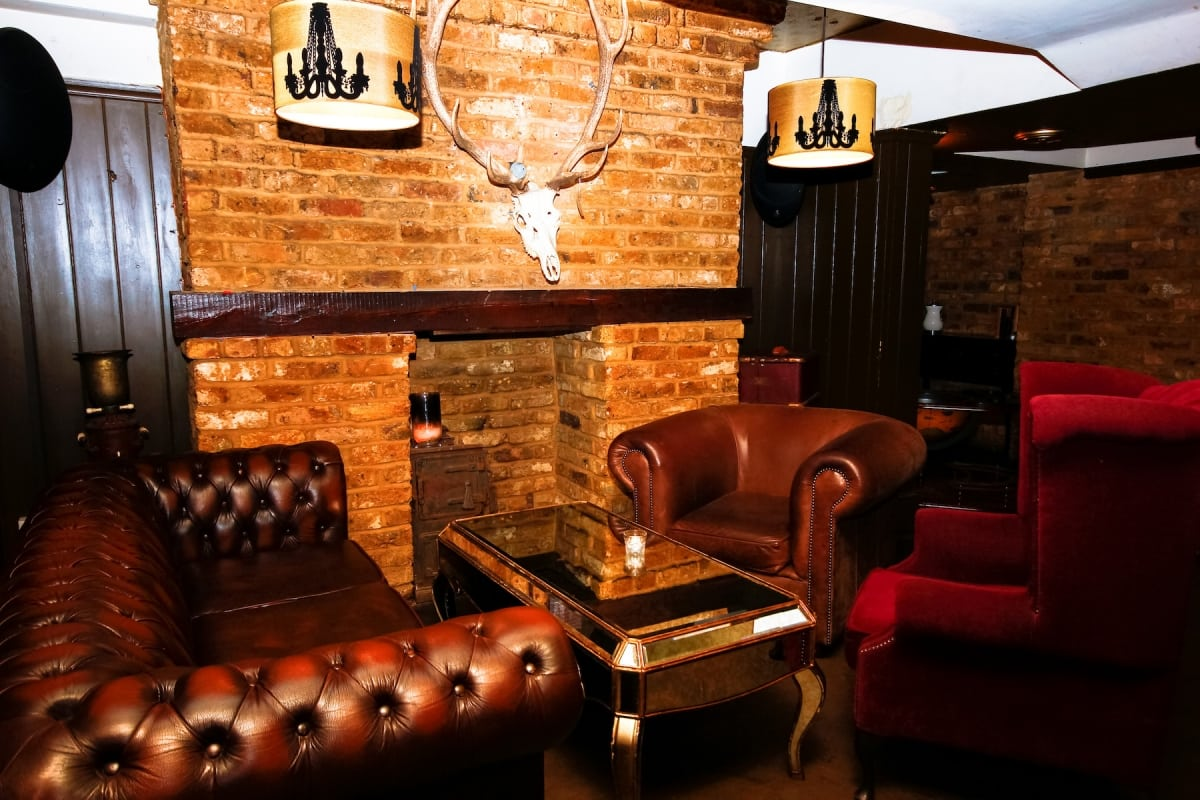 Speakeasy bar fireplace