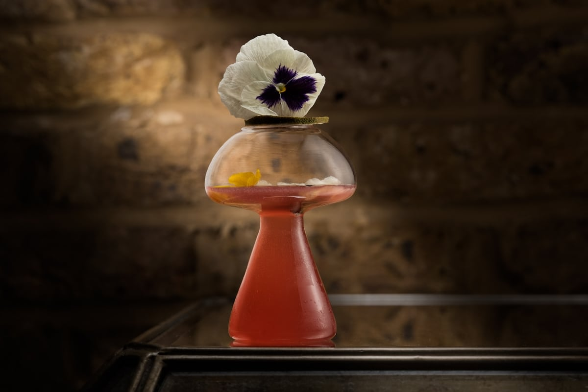 edible flower cocktail