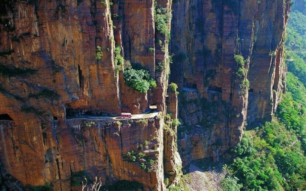 The 1250m long corridor was chiseled and hammered out of the mountain 40 years ago by 14 villagers from the nearby Guoliang village. The corridor is 5m high and 4m wide and is placed 110 meters up on the cliff face. Before it was built, the only way to get to the remote Guoliang village was via a set of 720 steep steps. So, in 1972 village head Shen Mingxin led 13 men to chisel and hammer - using no electricity or heavy machinery - out a road to the outside. It took them five years to complete the entire 'corridor' and during that time they used 10 tons of drill rods and 4,000 hammers. One man also died after slipping and falling. Along the corridor there are 35 window-sized holes, from which rock was dumped during the construction process, which now show the beautiful views that can be appreciated from the road.