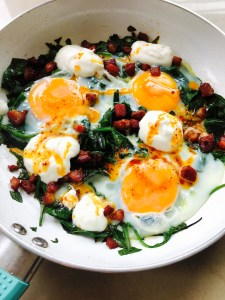 Bacon and Eggs with Spinach, Yoghurt and Chilli Butter