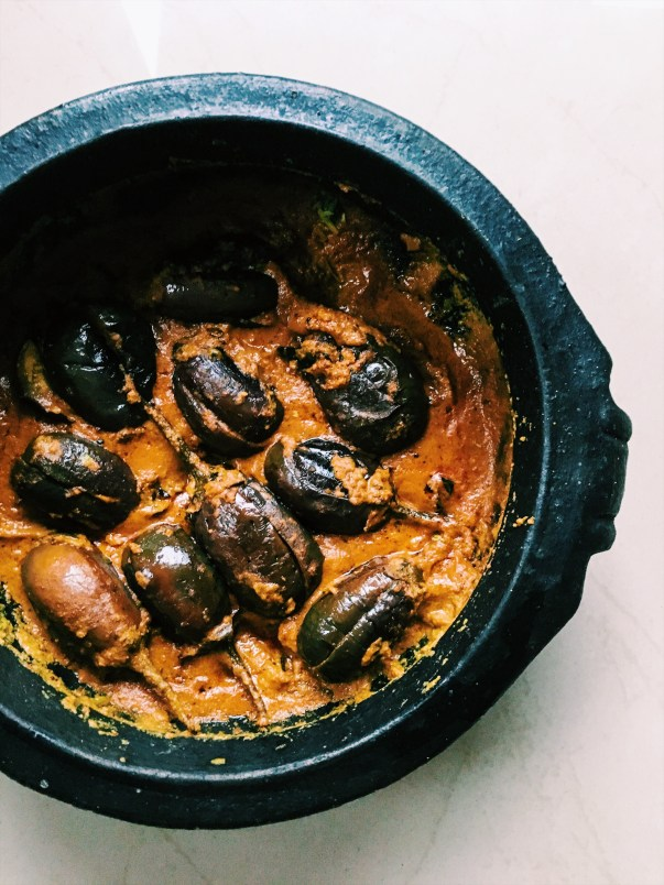 Stuffed Brinjal in Peanut Coconut Curry