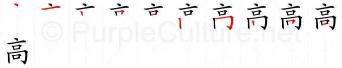 Chinese Word: 高 - Talking Chinese English Dictionary