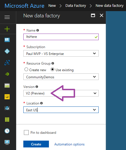 What S New In Azure Data Factory Version 2 Adfv2 Paul S Frog Blog Technical Blog And Sql Server Community Sharing
