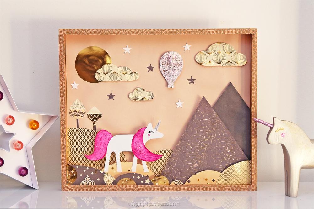 Licorne Paillettes Et Arc En Ciel Un Cadre En Papier 3D