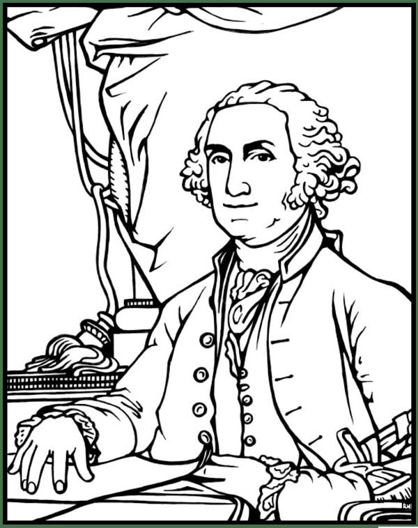 George Washington Coloring Page Purple Kitty