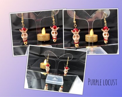 Picture of the gothic skull earrings