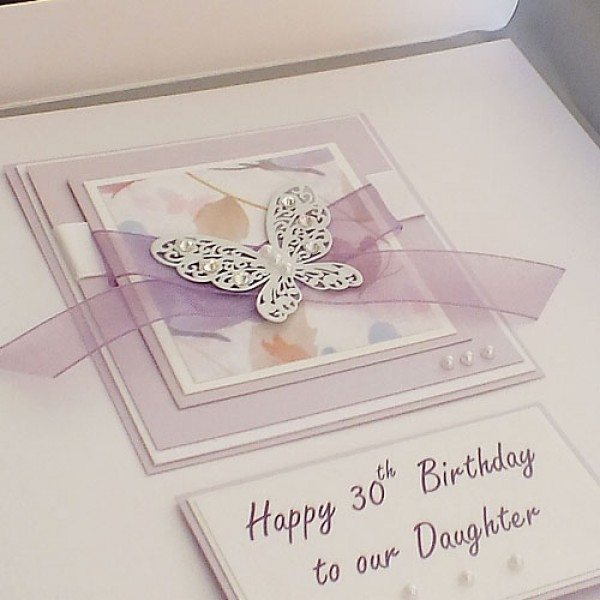 Lilac Butterflies Birthday Card LARGE