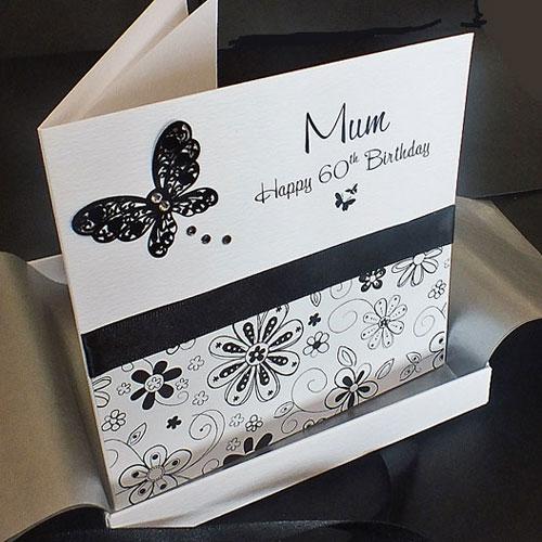 Black Amp White Butterflies Birthday Card