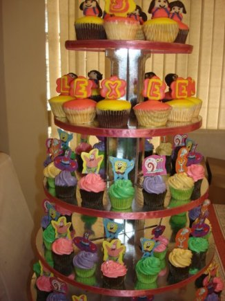 SWEETBOX Specialty Pastries and Sweets - Dora and Spongebob cupcake tower for Lexeen