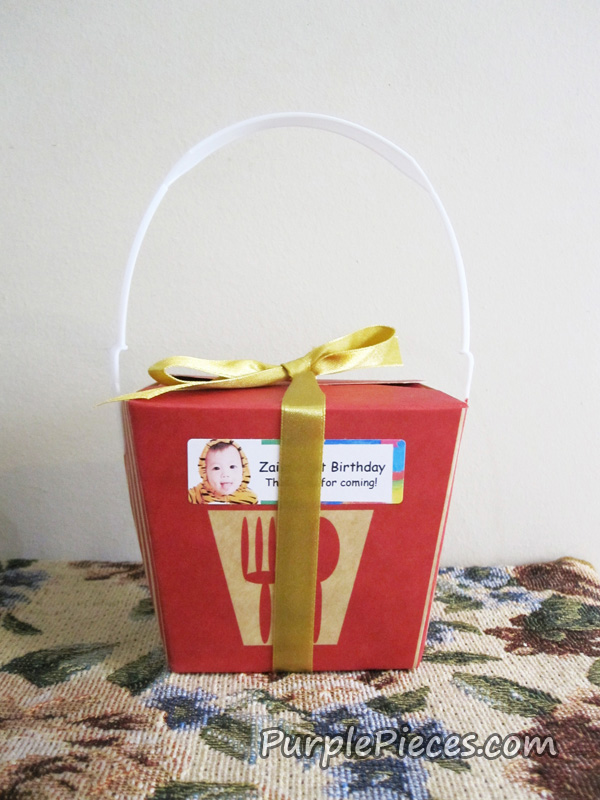 Red Chinese Take Out Favor Boxes : Personalized take out boxes as party favors