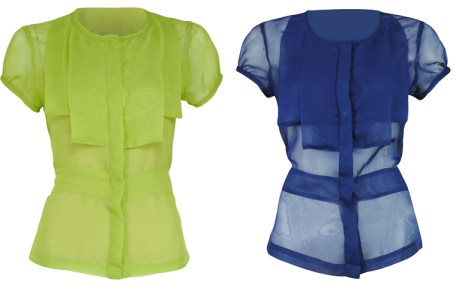 Ensembles - Chiffon Top with Flaps - Green Navy blue