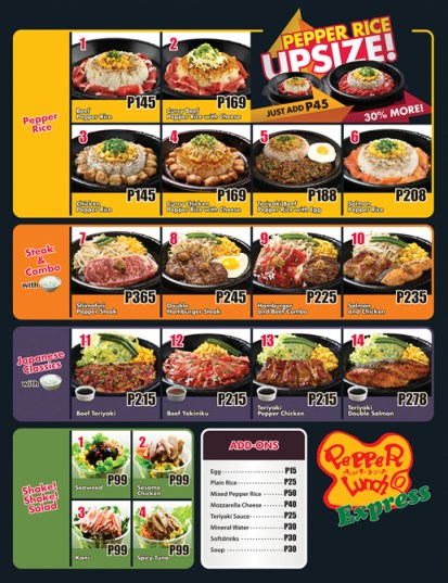 Pepper Lunch Express Menu Philippines
