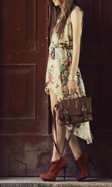 Vintage Floral Mullet Dress