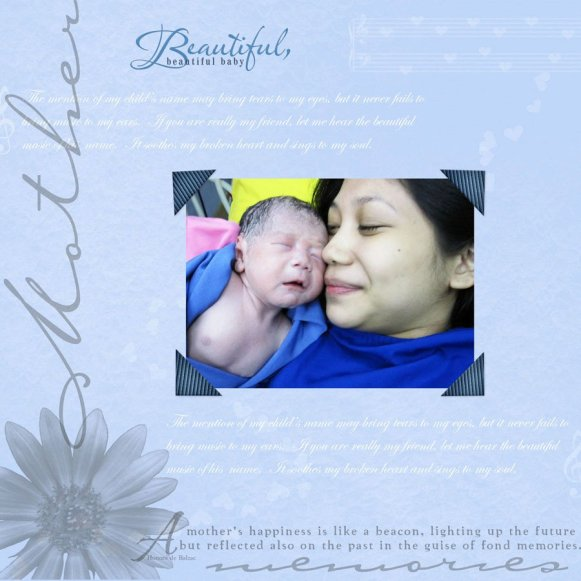 A memorable photo right after I gave birth to my eldest, Zaiel. ♥ DigiScrap kit source: Unknown