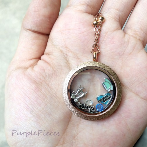 Glass Locket Pendant and Floating Charms