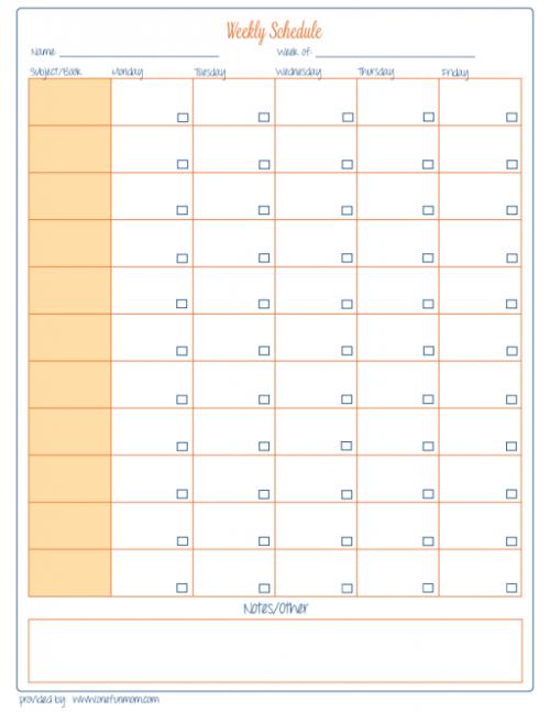 Homeschool Weekly Schedule - Free Printable