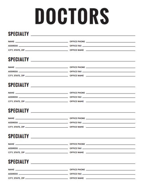 List of Doctors - Planner Printable