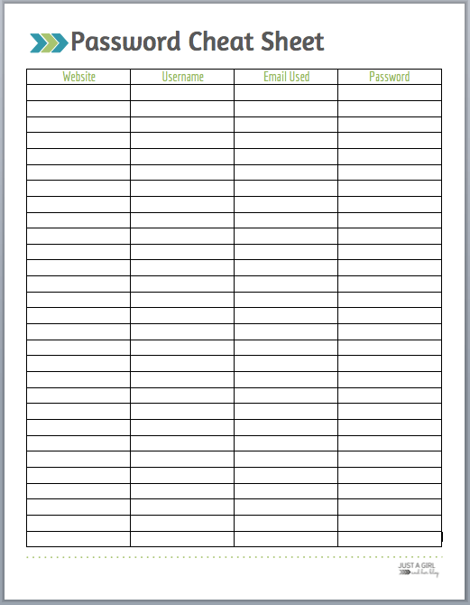 graphic about Password Cheat Sheet Printable named Pword Cheat Sheet - Cost-free Printable - Red Areas