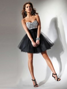A-line Tulle Sweetheart Sequins ShortMini Formal Dresses