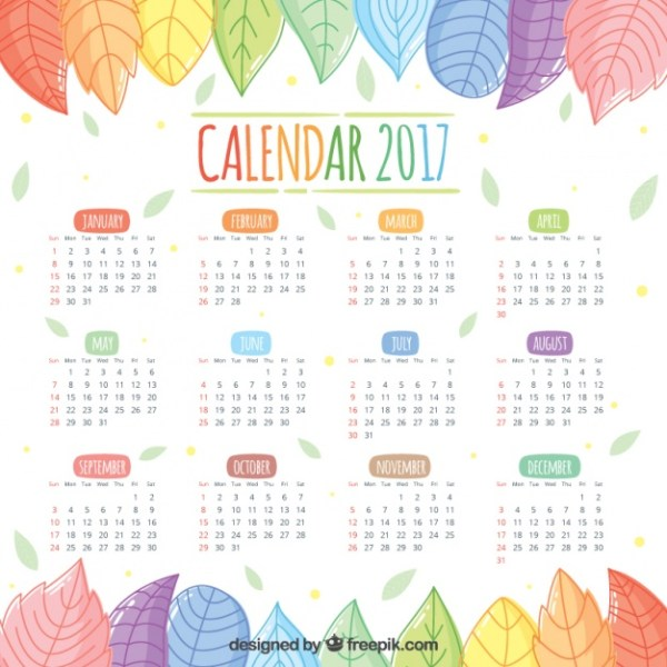 2017-calendar-of-beautiful-hand-drawn-colored-leaves_23-2147583729