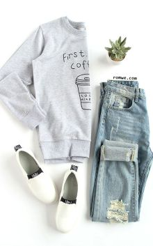 First Coffee Grey Sweatshirt