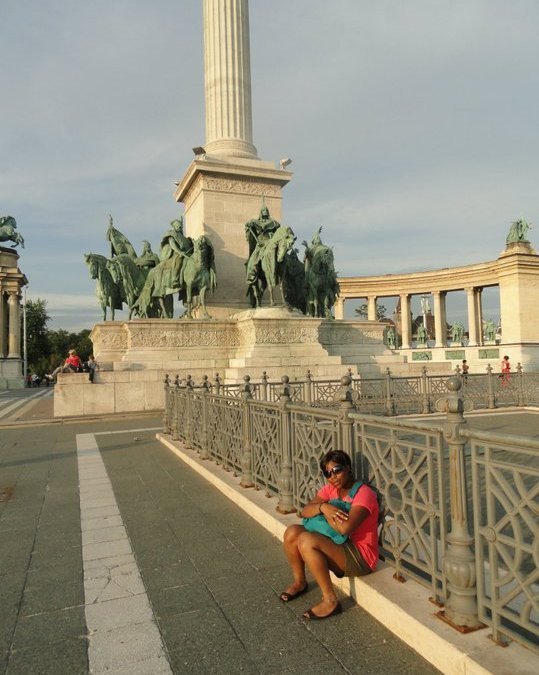 Me at Heroes' Square visiting Budapest