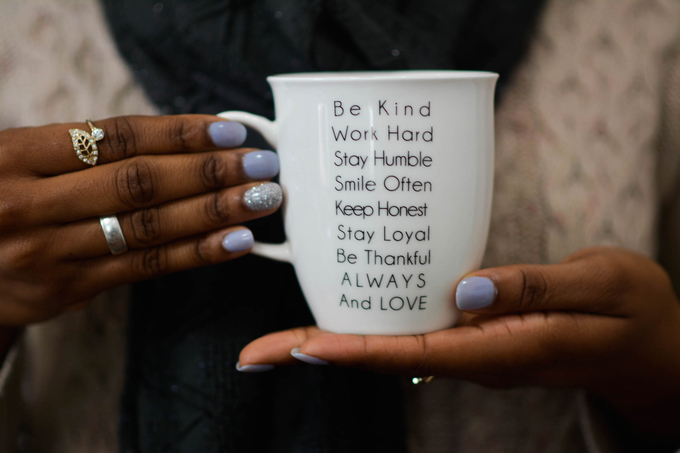 What the the benefits of practicing mindfulness, woman holding cup, work hard, stay humble, smile often always love purposefulhabits.com