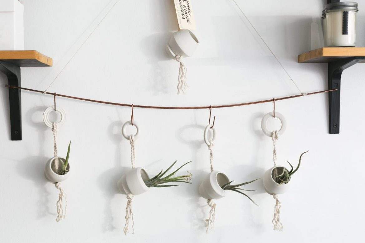 Use hanging plants to decorate small spaces