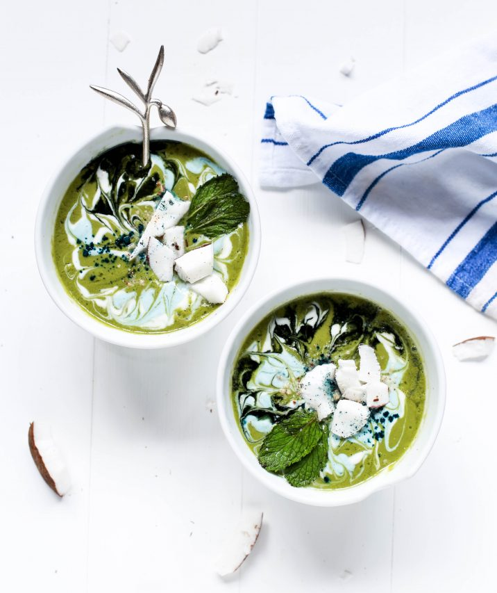 swirly green smoothie bowls on a white table, purposefulhabits
