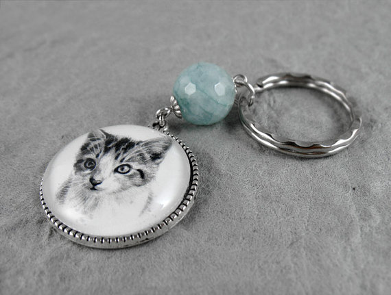 Kitten drawing key ring