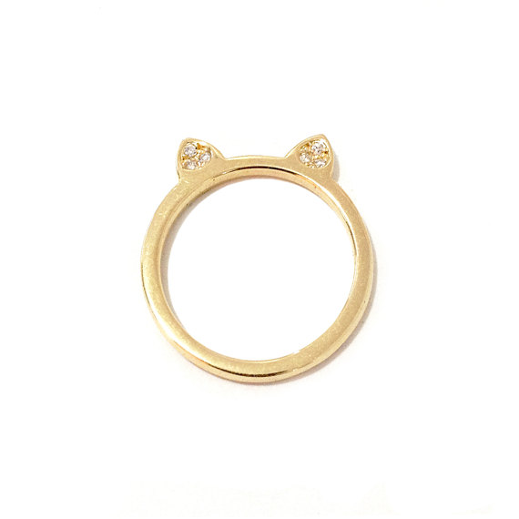 Cat Ears Diamond Pavé & 14K Solid Gold Ring (Dainty Kitten Shape Kitty Cat Ear Stackable Bands)
