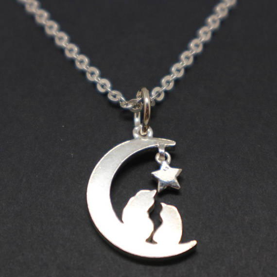 Silver Moon and Star Cat Necklace Pendant - Moon and Cat Jewelry, Gift for Women, Wife, Cat Lovers, Best Friend, Mother, Girl Friend, Sister