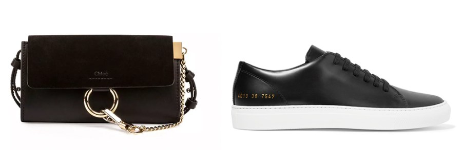 Chloé Faye Suede en Leather Wallet-on-Strap €  795 via Neiman Marcus Common Projects Court Leather Sneakers €  410 via Net-a-Porter