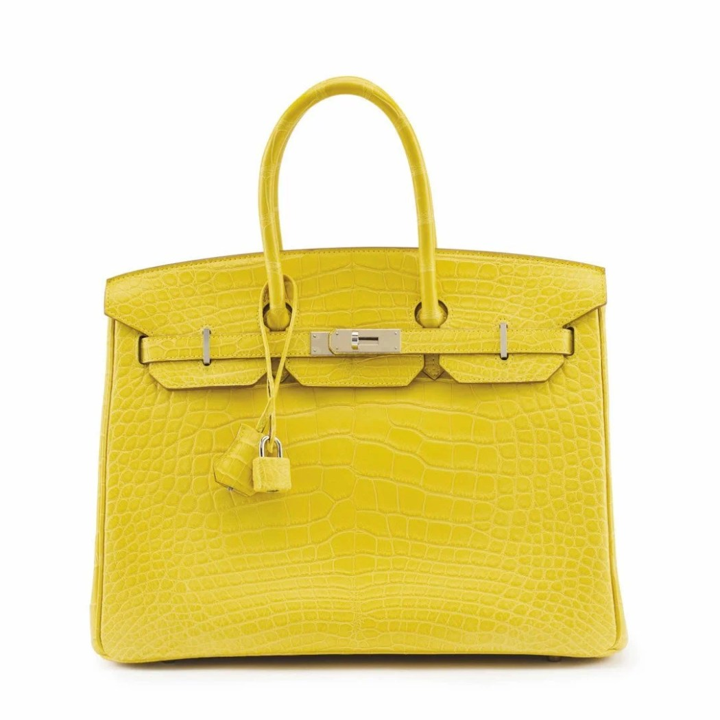 A MATTE MIMOSA ALLIGATOR BIRKIN 35 WITH PALLADIUM HARDWARE sm