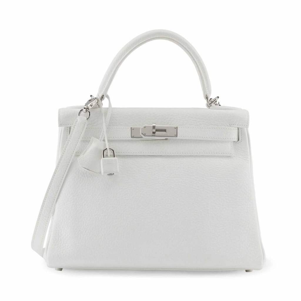 A WHITE CLÉMENCE LEATHER RETOURNÉ KELLY 28 WITH PALLADIUM HARDWARE sm