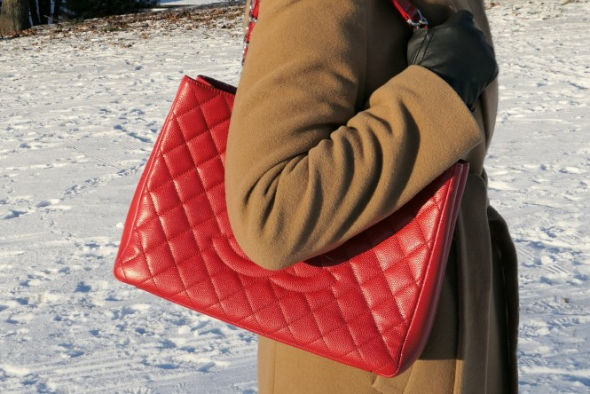 Red and camel outfit, red Chanel GST tote bag, Ralph Lauren camel coat