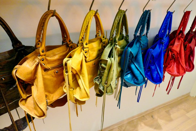 Balenciaga City bags in Cumin, Moutarde, Olive green, Lagoon and Blue Lazuli.